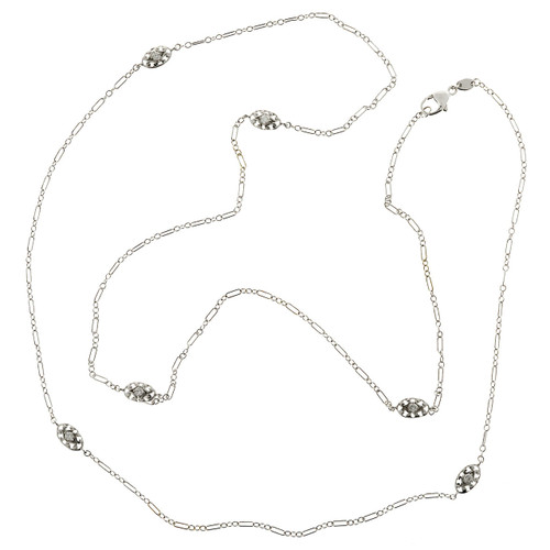 Designer BK .63ct Diamond By The Yard 32 Inch 18k White Gold Necklace