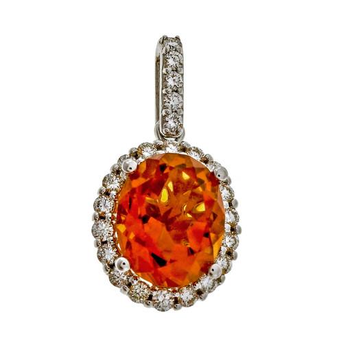 Designer HMA Orange Yellow 2.40ct Citrine 14k White Gold Diamond Pendant