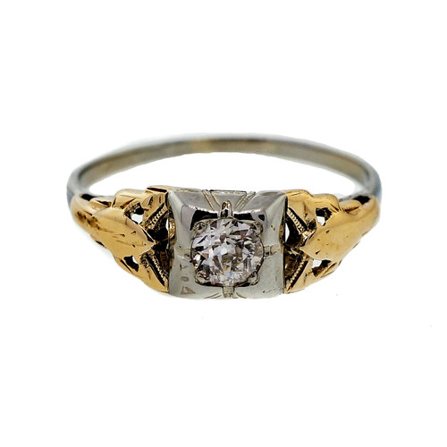 Vintage Old European Cut Diamond 0.18ct Engagement Ring 14k White & Yellow Gold