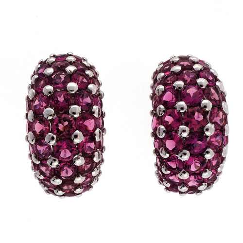 Estate Pink Tourmaline 7.29ct Domed Clip Post 18k White Gold Earrings