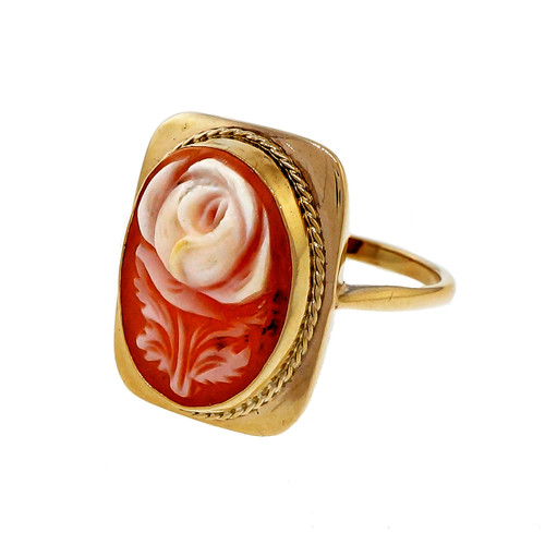 Vintage Hand Carved Flower Shell Cameo 9k Yellow Gold English Ring