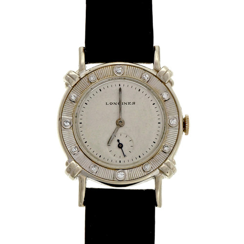 Vintage 1950 – 1960 Longines 14k White Gold Diamond Strap Watch