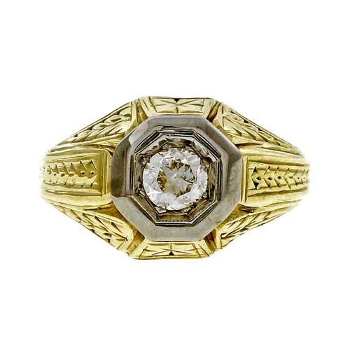 Vintage 1910 14k Yellow Gold Ring 0.25ct Old European Cut Diamond