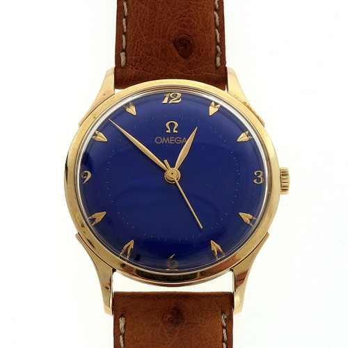 Men's Omega 14k Gold Wind Watch1960 blue Dial Manual