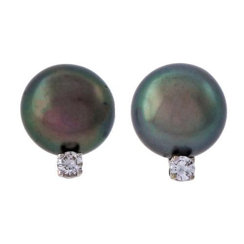 Estate 10mm High Grade Black Color South Sea Cultured Pearl Diamond 18k White Gold Earrings