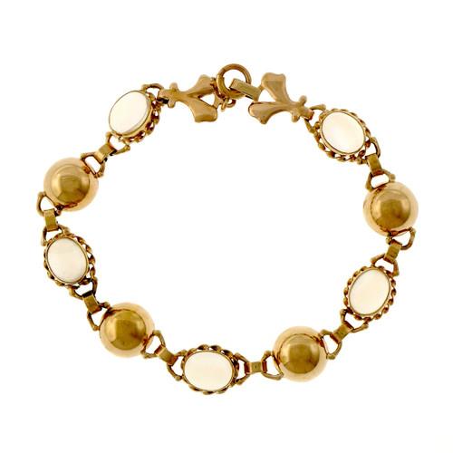 Vintage Retro 1940 14k Rose Gold Blue Moonstone Bracelet