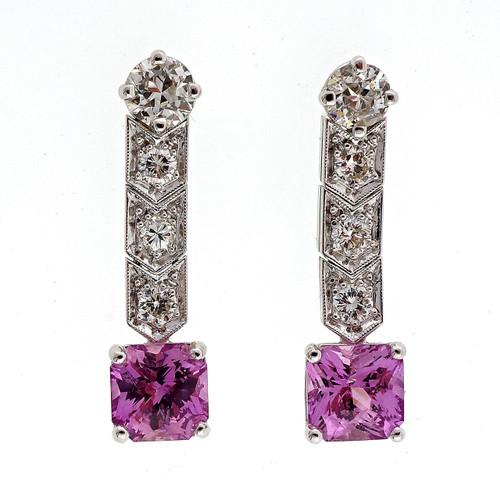 Antique Art Deco Platinum Dangle Earrings 1930 2.51ct No Heat Pink Sapphire