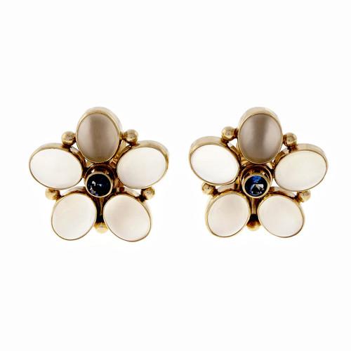 Vintage 1960 Cats Eye Moonstone Sapphire Earrings 14k Gold