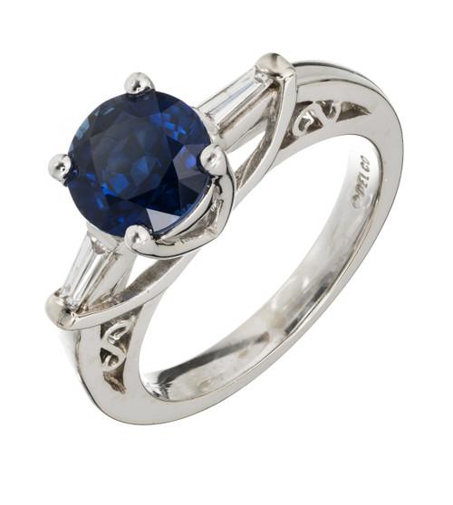 Del Co Designer 2.37ct Royal Blue Certified Sapphire Diamond 14k White Gold Engagement Ring