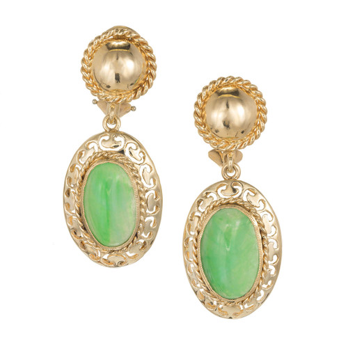 GIA Certified Art Deco Jadeite Jade Rose Gold Clip Post Dangle Earrings