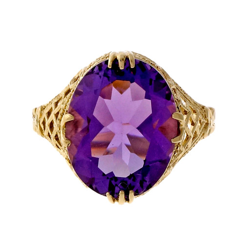 Vintage 1950 5.57ct Amethyst Filigree Diamond 14k Yellow Gold Ring