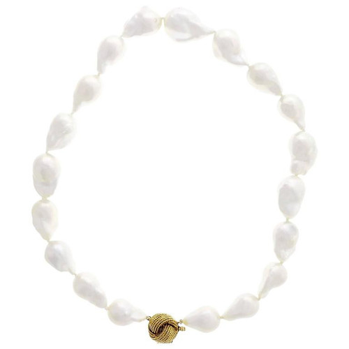 Peter Suchy Fine Large Chinese Freshwater Baroque Pearl 14k Yellow Gold Necklace