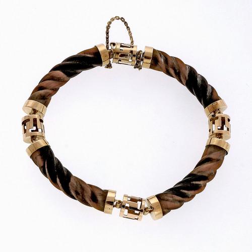 1960 Swirl Link Vintage Tiger Eye 14k Gold Bracelet