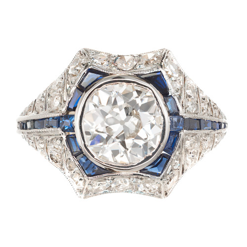 Art Deco Old European Diamond Sapphire Engagement Gold Platinum Ring