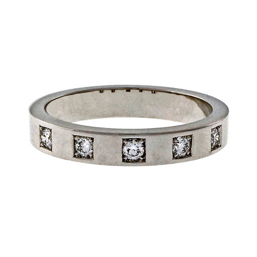 Peter Suchy Ladies Solid 18k White Gold Diamond Band .16ct 3.5mm Wedding Band