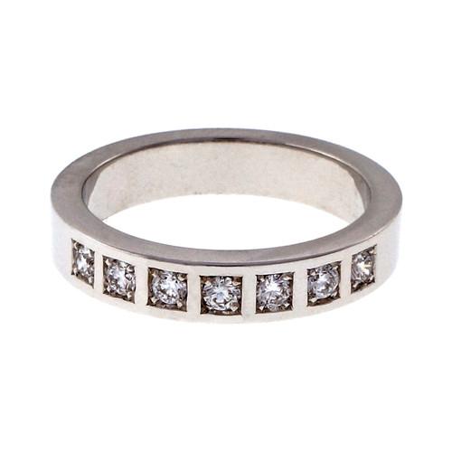 Peter Suchy Ladies Solid Flat Platinum 4mm 7 diamond Wedding Band