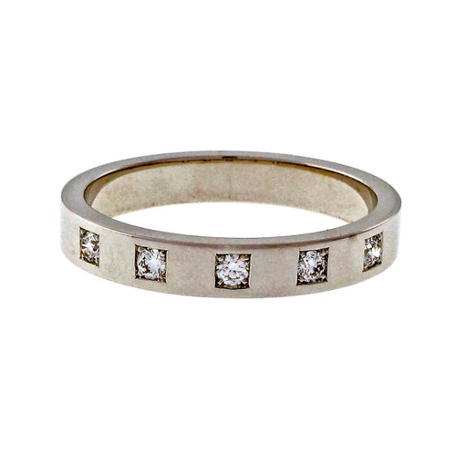 Peter Suchy Design Mens Solid 18k White Gold 5 Diamond Wedding Band Ring