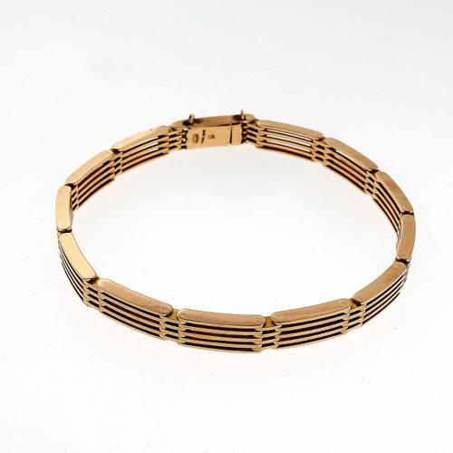 Antique Victorian 1900 15.00ct Pink Gold Hand Made Hinged Link Bracelet