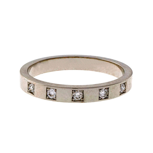 Peter Suchy Mens Flat Solid 18k White Gold Diamond Wedding Band