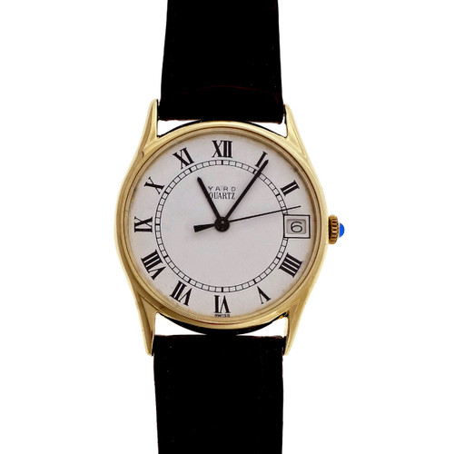 Vintage Yard Classic 14k Yellow Gold 14k Strap Quartz Date Watch