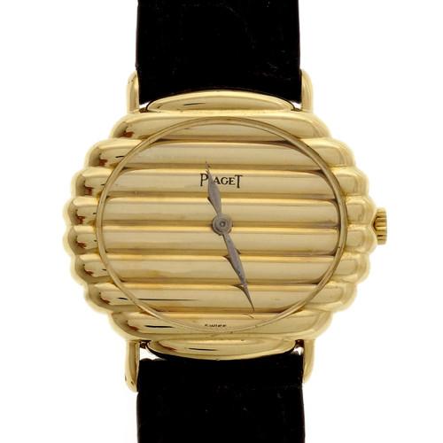 Piaget Ladies Yellow Gold Ribbed Wristwatch