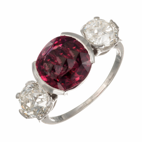 1920's 3.95ct Purplish Pink GIA Spinel Diamond Engagement Ring