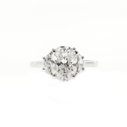 Estate Handmade 2.80ct Oval Diamond Half Moon Platinum Engagement Ring