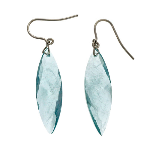 Peter Suchy Swirl Briolette Untreated Blue Topaz 14k White Gold Dangle Earrings