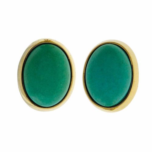 Vintage 1960 Cellino 18k Yellow Gold Clip Post Turquoise Earrings