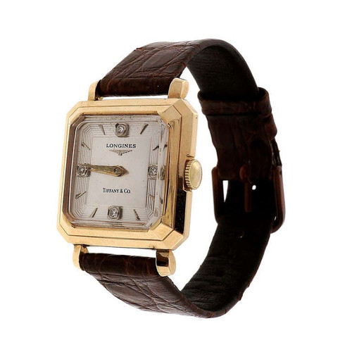 Longines Tiffany & co.  Yellow Gold Diamond Dial Wristwatch