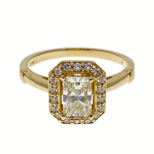 Peter Suchy .82ct Radiant Cut 14k Yellow Gold Engagement Halo Ring