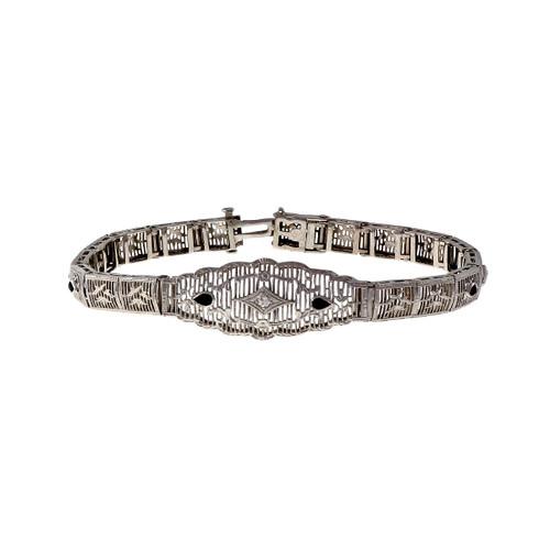 Vintage 14k White Gold Filigree Link Bracelet Calibre Black Onyx And Diamond