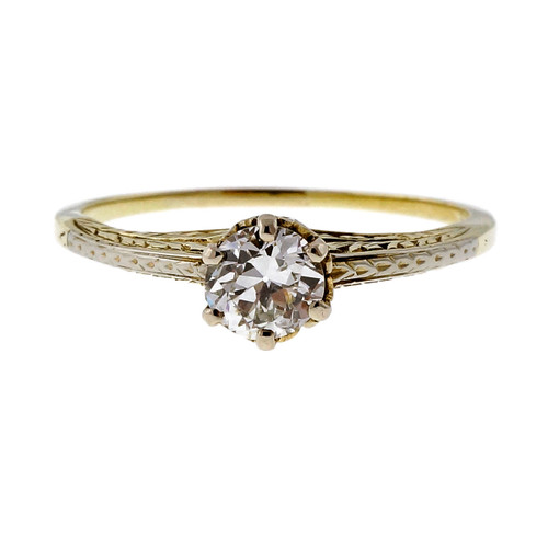 1930 Vintage Transitional Cut .47ct Original 14k Gold Engagement Ring