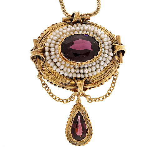 Antique 1800 14k Yellow Gold Domed 3.50ct Garnet Natural Pearl Pendant
