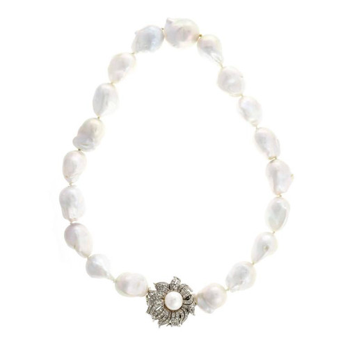 Peter Suchy Baroque Chinese Cultured Pearl Diamond Clasp Necklace