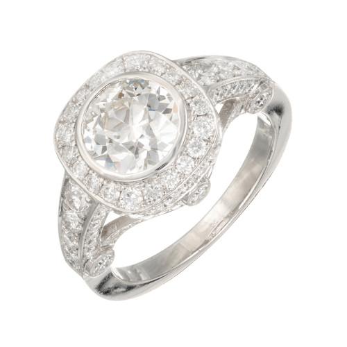 Peter Suchy Diamond Old European Platinum Engagement Ring