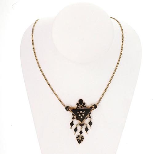 Antique Victorian 1860 14k Pink Gold Black Onyx Natural Pearl Pendant