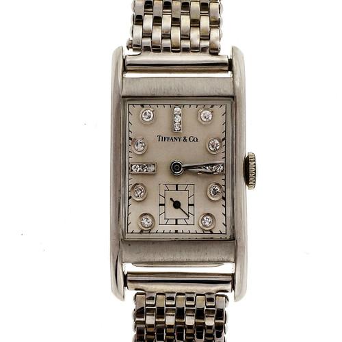 Tiffany 1940 Palladium Longines Diamond 17 Jewel Watch Men's Ladies