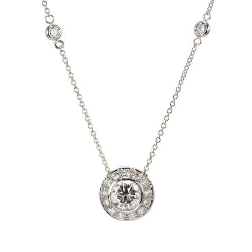 Peter Suchy Diamond 1.41 Carat by the Yard Halo Gold Pendant Necklace