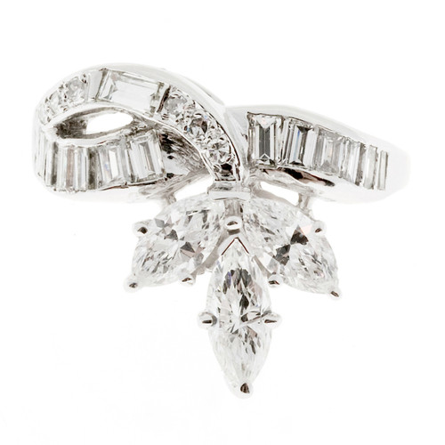 .70 Carat Marquise Baguette Round Diamond Gold Swirl Three-Stone Cocktail Ring