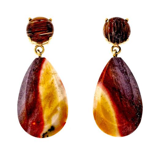 Peter Suchy Rutilated Quartz Jasper 14k Yellow Gold Dangle Earrings