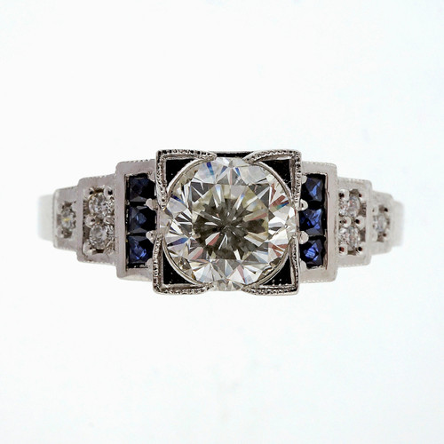 Vintage Old European Cut 1.00ct Diamond Art Deco Step Platinum Sapphire Ring