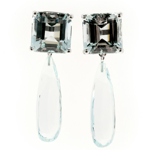 Peter Suchy 29.06ct Natural Untreated Aqua Dangle Earrings 14k White Gold
