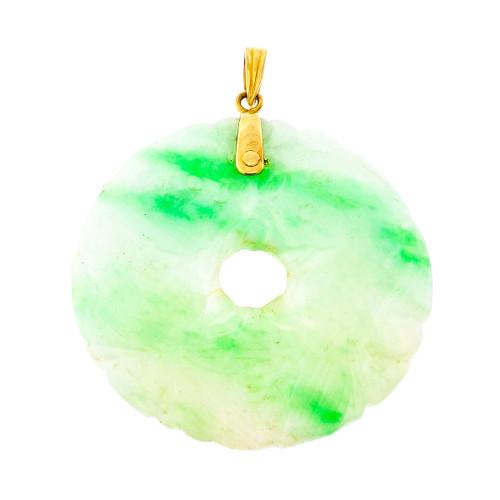 Vintage 1950 Jadeite Jade Pendant 18k Yellow Gold