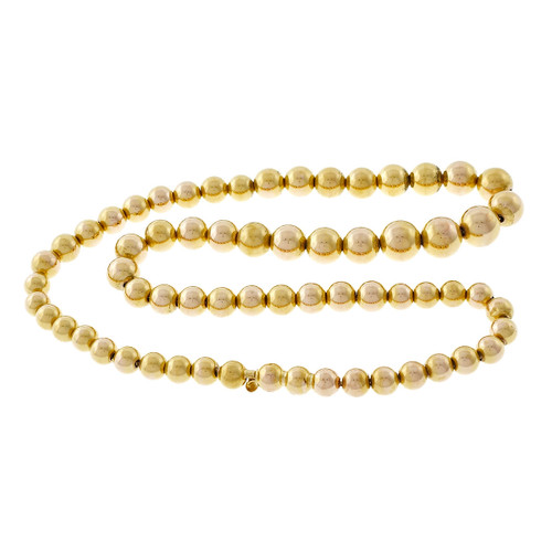 Vintage 1960's Graduated Thick Walled 14k Yellow Gold Bead Necklace
