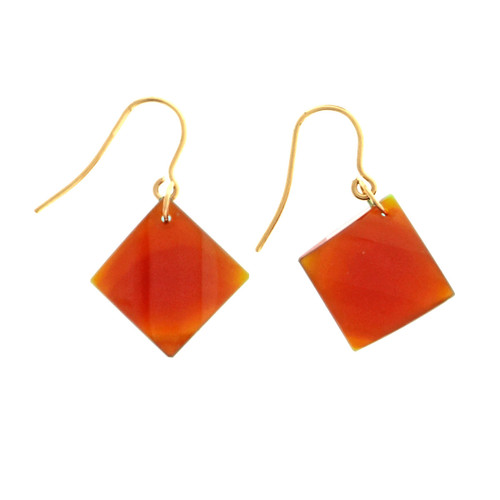 Peter Suchy 21.70ct Carnelian 14k Yellow Gold Dangle Earrings