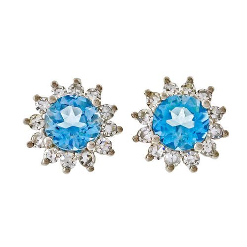 Estate 2.85ct Aqua Diamond 14k White Gold Diamond Earrings