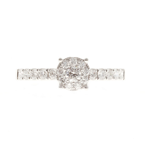 Designer Halo Diamond Engagement Ring 0.39ct Total 18k White Gold