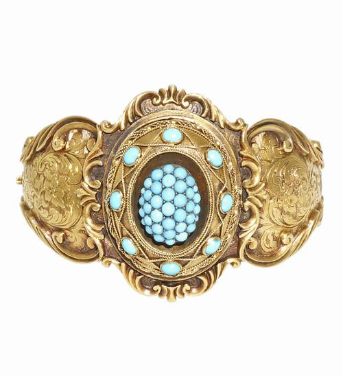 Victorian 1850 Antique 14k Natural Persian Turquoise Bangle Bracelet
