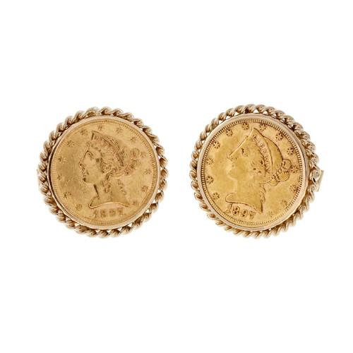 Vintage 1960's 1897 US Gold Coin Liberty Head 14k Cufflinks